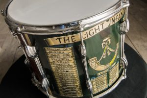 A drum belonging to the Light infantry, featuring detailed artwork of the LI badge and countries visited