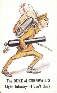 A postcard featuring a light-hearted sketch of a DCLI Soldier carrying kit and weapons