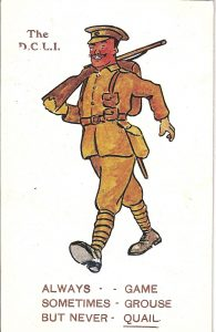 A postcard featuring a drawing of a DCLI soldier