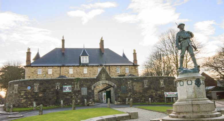 Front entrance to Cornwall's Regimental Museum and the War Memorial