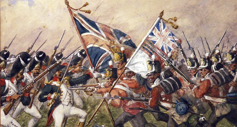 A painting showing the Battle of Waterloo