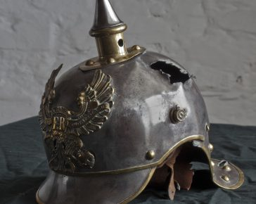 Private Sambrook, Battle of Mons, A German picklehaubes helmet