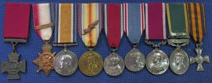 A display of, a colection of medals