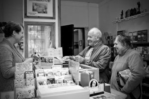 Customers making a purchase in the museum shop
