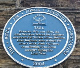 A Plaque outside the museum informing people of the School for Linguists between 1951-56