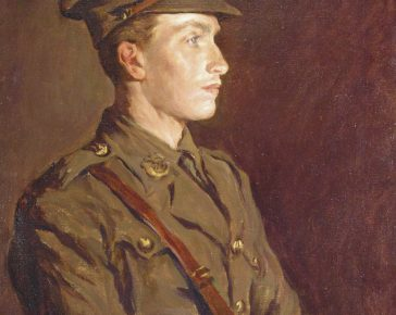 Oil painting of young soldier in WW1 uniform