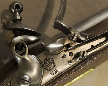 Close up of a Gun's firing mechanism