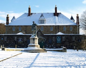 Cornwall's Regimental Museum and DCLI Memorial in the snow