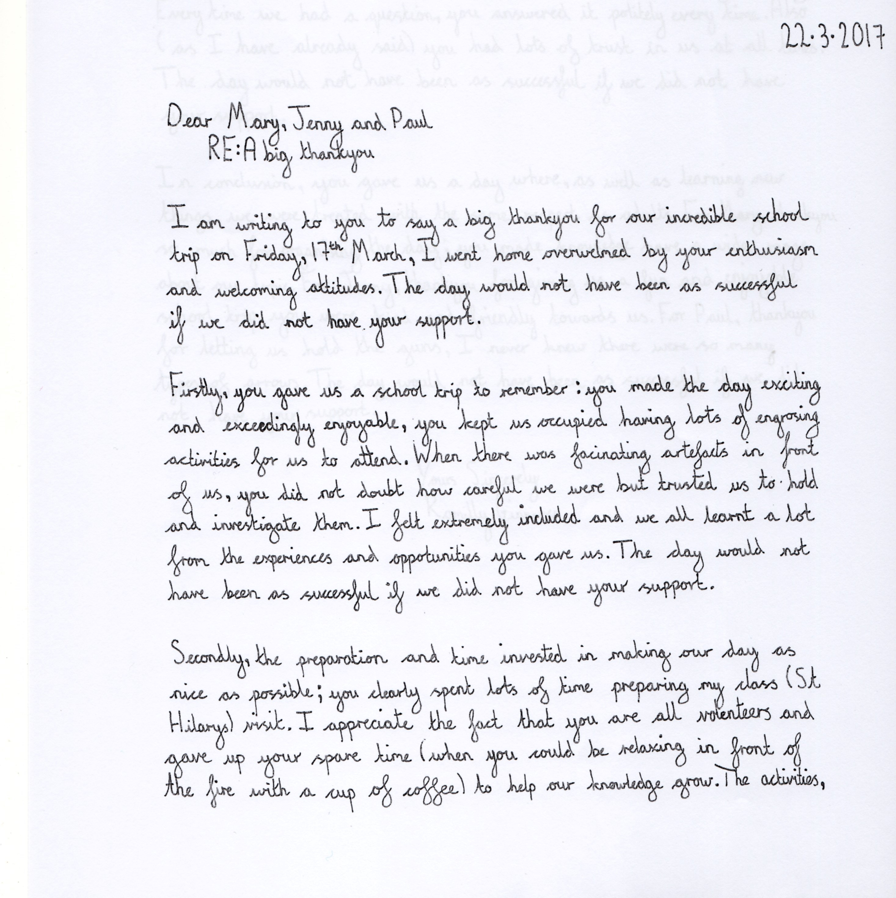 A Thank You Letter Written By A Student Of St Hilarys School After