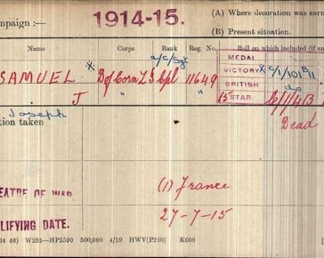 A handwritten Medal Card dated 1914-15 with red ink