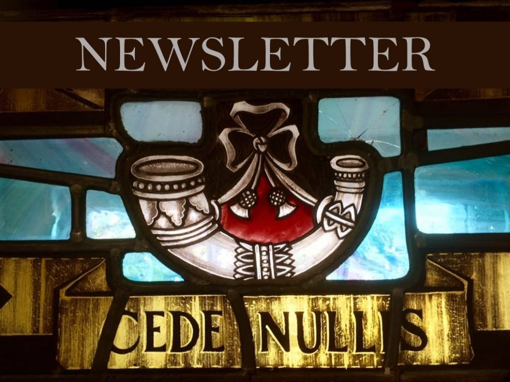 Header Banner for the Military Family E-Newsletter. A bright stained glass window with the words 'Cede Nullis' and the Light Infantry Insignia. The word 'Newsletter' is written across the top.