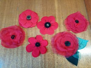 A selection of Poppies created for Cornwall's Regimental Museum's Handmade Poppy Project