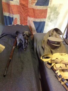 Private Spingo during Living History weekend in the museum's ww1 guard room