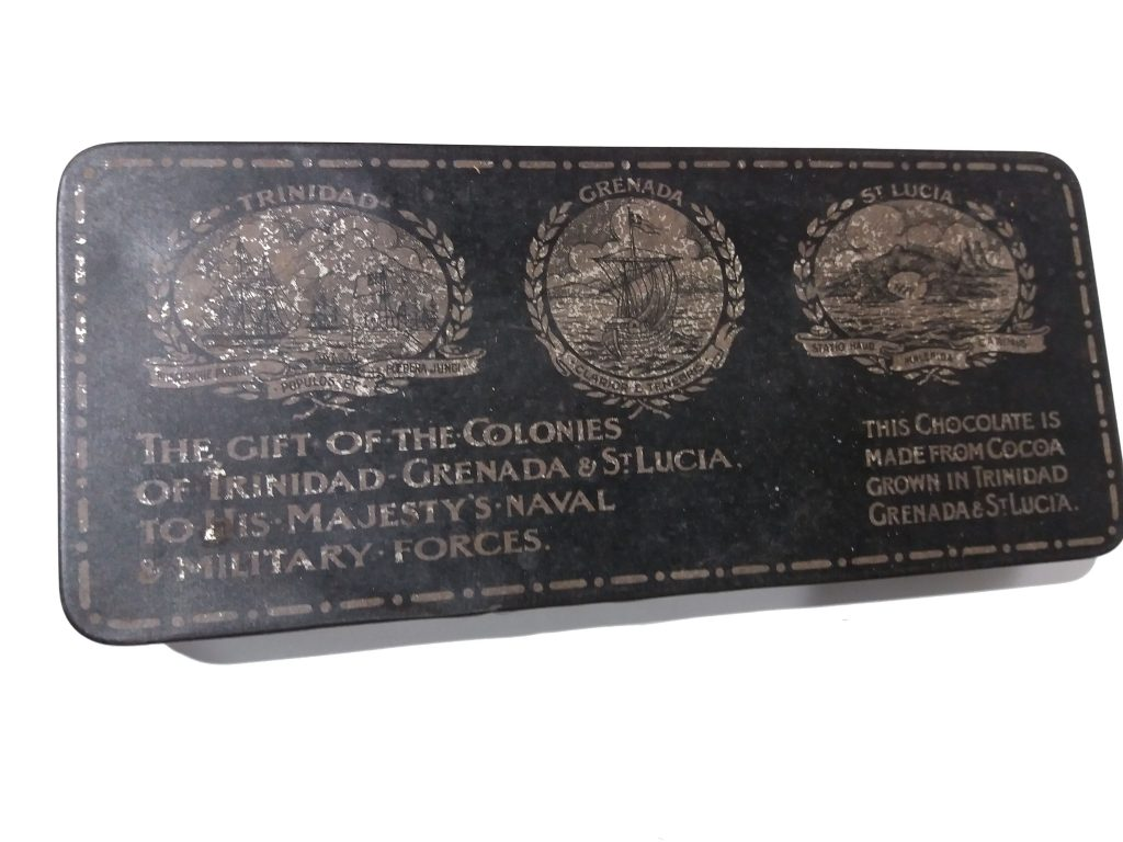 Gift of the colonies tin – The colony authorities allowed £40,820 to be spent on cocoa for the manufacture of chocolate in England.