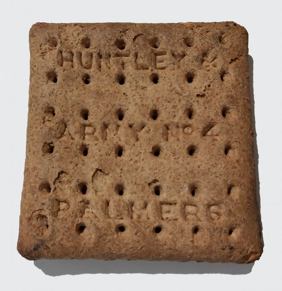 Huntley & Farmers WWI hardtack biscuit, currently on display at Cornwall's Regimental Museum