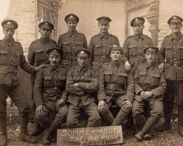 'Somme of the boys' from 7 DCLI during the First World War - image credit Cornwall's Regimental Museum