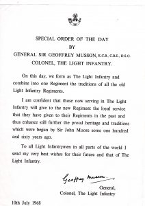 From the Light Infantry Archives at Cornwall's Regimental Museum - Special order of the day by General Musson