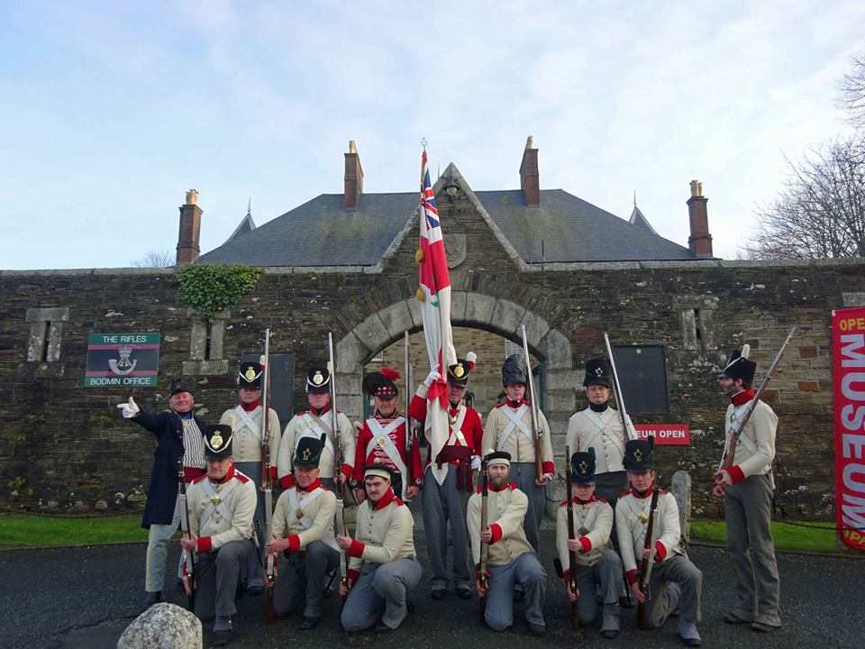 The 32nd Cornwall Regiment of Foot outside Bodmin Keep. Image from the 32nd Regiment of Foot on Facebook.