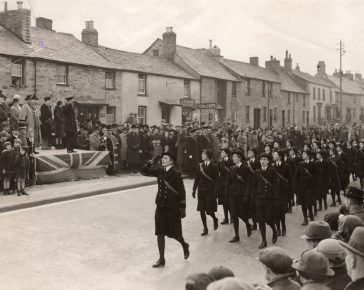 The WVS (Women's Volunteer Service) parading at Bodmin in 1939.