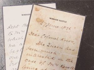 Mother_seven_sons_article.Letters from windsor castle to Mrs Keveth from Queen Victoria about her 7 serving sons, DCLI