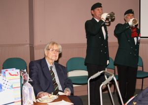 Patrick Linehan 100 years Birthday party at Bodmin Keep. WW2 Veteran, POW, DCLI, Buglers playing.