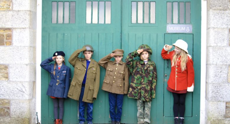 Kids Lines up at museum, in uniform