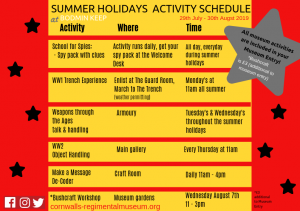 Summer Holidays at Bodmin Keep, Cornwall's Regimental Museum, 2019, Kids in Museums, WW1 Trench, WW2 object handling, Summer School for Spies, Craft Room, Bushcraft Survival Day, Weapons Through the Ages