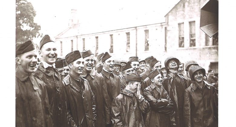Bob Hope Audience in the rain at Bodmin barracks, D Day, WW2