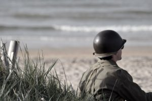 Soldier on a beach, Normandy Landings, WW2