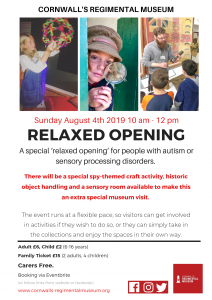 relaxed opening, Autism aware, Autism opening, Bodmin Keep, Spy School Spy craft activity, Cornwall's Regimental Museum