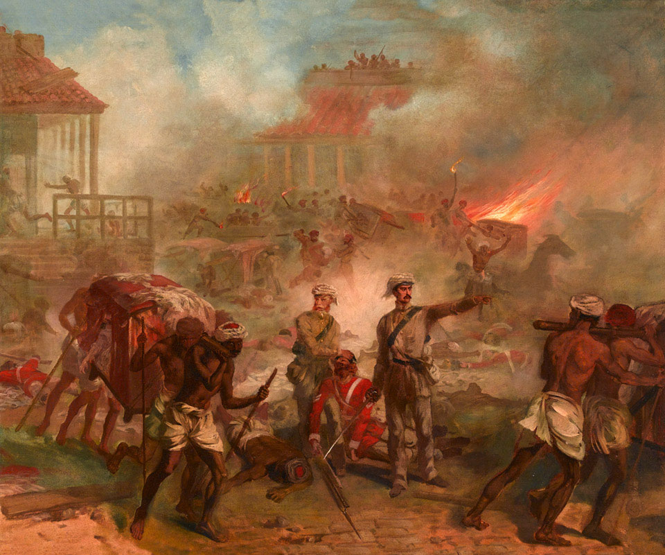 Oil on canvas, by Louis William Desanges, 1860 (c)._The Siege of Lucknow, The Indian Mutiny 1857
