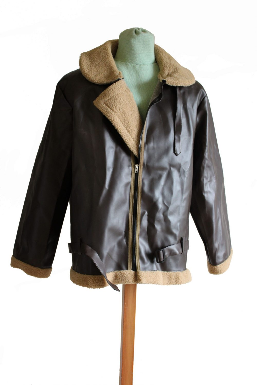 Brown leather aviator jacket with light brown sheepskin cuffs and collar