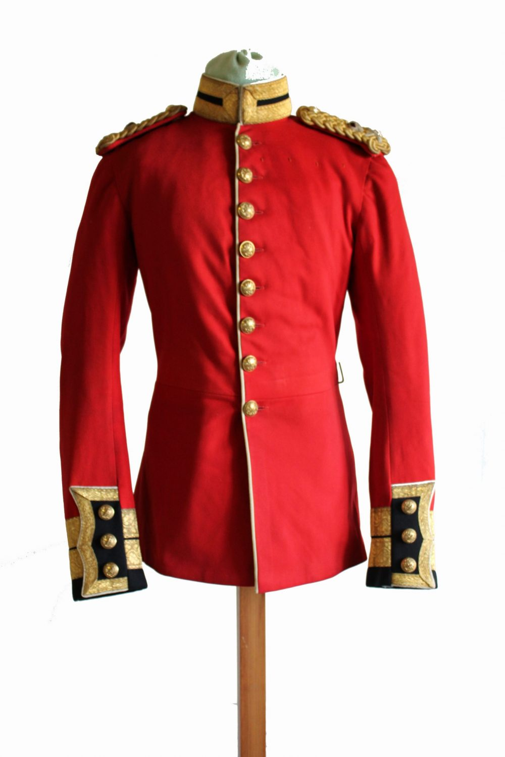 Red military jacket with gold buttons, collar, sleeve cuffs and shoulder epaulettes