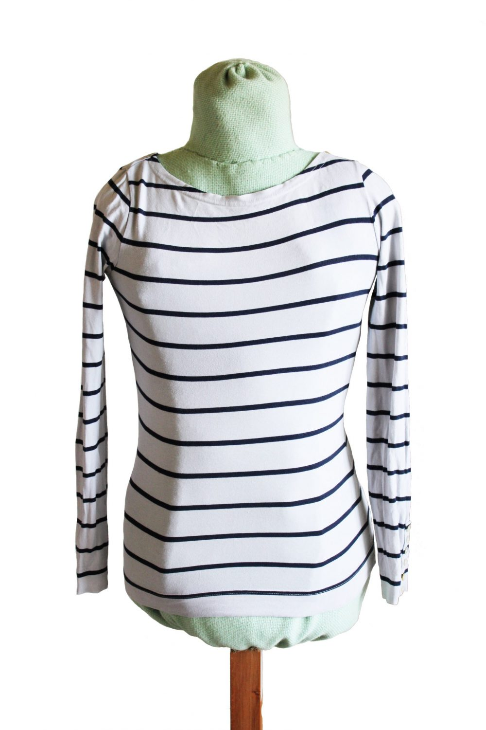 White long sleeved top with dark blue horizontal stripes