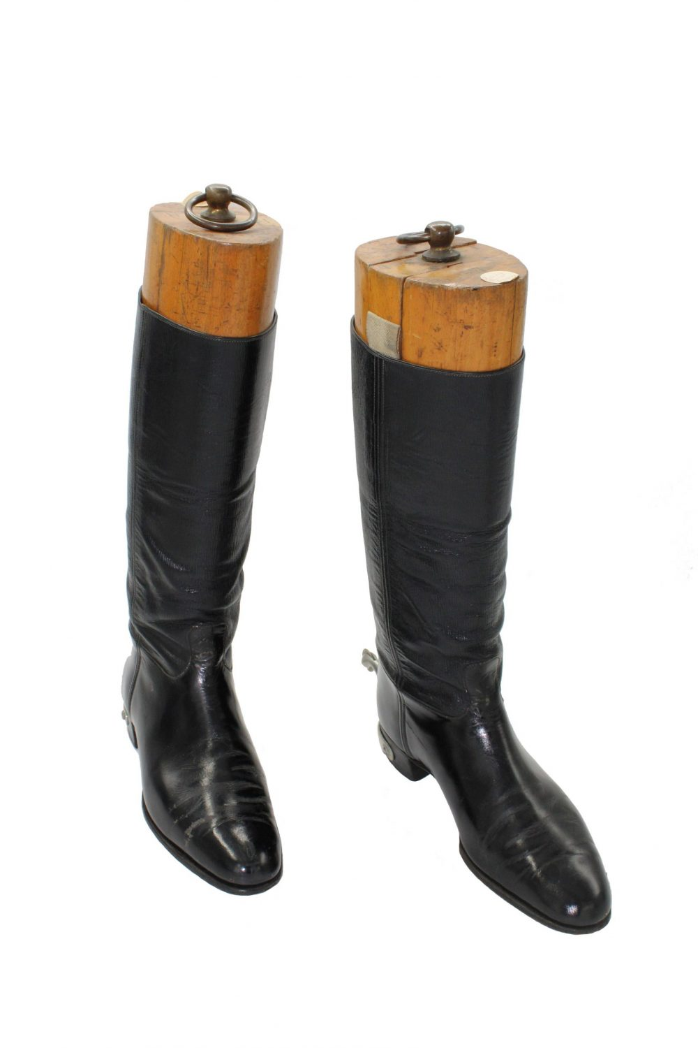 Black leather boots with a small block heel, which finish at mid calf