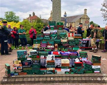 Brick stacked up by Memorial for PTSD awareness