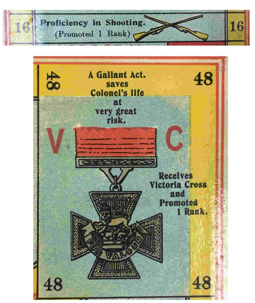 Close up of two tiles in the board game. On the top, tile 16 depicts two rifles crossed in an X shape with the words 'Proficiency in shooting. (Promoted 1 Rank)'. Below, tile 48 depicts a Victoria Cross Medal with the words 'A Gallant Act. saves Colonel's life at very great risk. Received Victoria Cross and Promoted 1 Rank.'