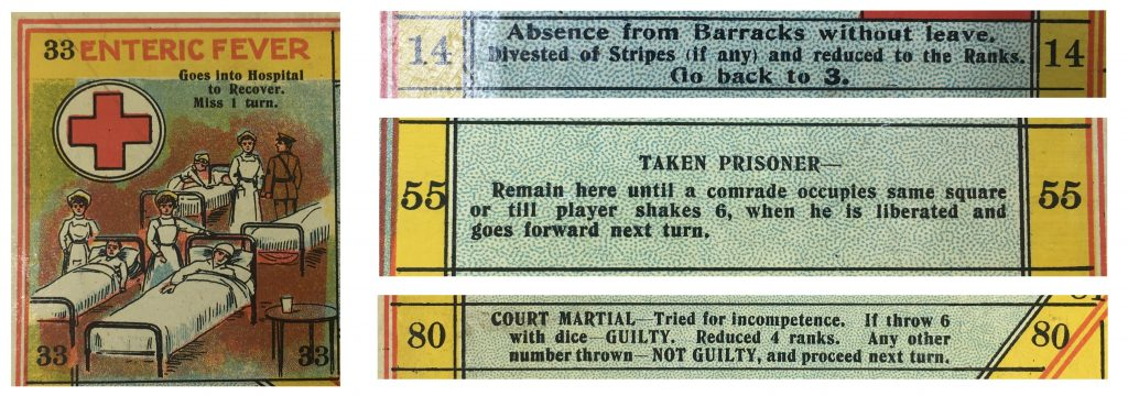 Four game tiles. Tile 33 depicts a four occupied cartoon hospital beds. Three nurses and a soldier stand next to the beds. The tile reads 'ENTERIC FEVER Goes into hospital to Recover. Miss 1 turn.'  Tile 14 reads 'Absence from Barracks without leave. Divested of Stripes (if any) and reduced to the Ranks. Go back to 3.  Tile 55 reads 'TAKE PRISONER - Remain here until a comrade occupies same square or till player shakes 6, when he is liberated and goes forward next turn.' Tile 80 reads 'COURT MARTIAL - Tried for incompetence. If throw 6 with dice - GUILTY. Reduced 4 ranks. Any other number thrown - NOT GUILTY, and proceed next turn.'