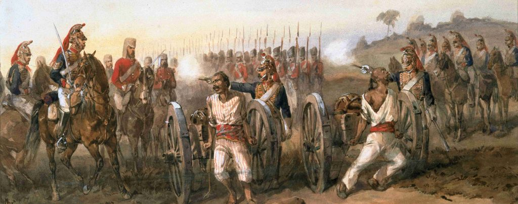 Soldiers tied to mouth of a cannon
