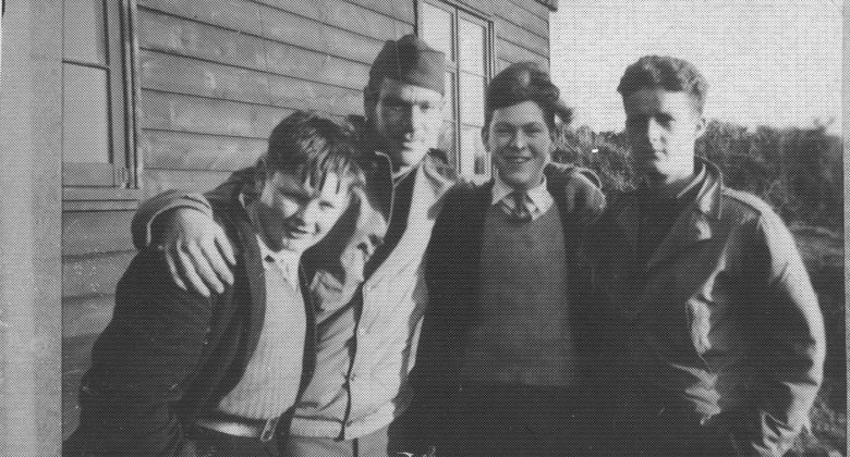Local Cornish boys outside a walker lines hut at the WWII US Army camp in Bodmin